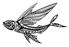 Tribal Flying Fish Royalty Free Stock Image