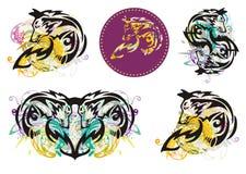Tribal fox symbols splashes Royalty Free Stock Photography