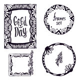 Tribal frame set. Hand-drawn doodle design elements with lettering Good day. Vector decoration. Stock Photos