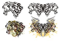 Tribal furious stallion head tattoos with splashes Stock Photography