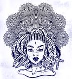Tribal Fusion Afterican or African Aberican diva. Beautiful black girl with ornate crown. Bohemian goddess. Ethnic woman portrait with braided hair, beautiful stock illustration