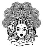 Tribal Fusion Afterican or African Aberican diva. Beautiful black girl with ornate crown. royalty free illustration