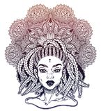 Tribal Fusion Afterican or African Aberican diva. Beautiful black girl with ornate crown. vector illustration
