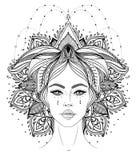 Tribal Fusion Boho Diva. Beautiful Asian divine girl with ornate crown, kokoshnik inspired. Bohemian goddess. Hand drawn elegant. Illustration. Lotus flower royalty free stock photography