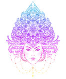 Tribal Fusion Boho Diva. Beautiful Asian divine girl with ornate Royalty Free Stock Photography