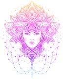 Tribal Fusion Boho Diva. Beautiful Asian divine girl with ornate Stock Image