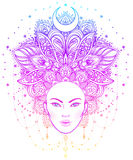 Tribal Fusion Boho Diva. Beautiful Asian divine girl with ornate Stock Photo