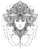 Tribal Fusion Boho Diva. Beautiful Asian divine girl with ornate Royalty Free Stock Photos
