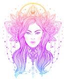 Tribal Fusion Boho Diva. Beautiful Asian divine girl with ornate Stock Photos
