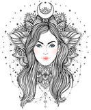 Tribal Fusion Boho Diva. Beautiful divine girl with ornate crown Stock Images