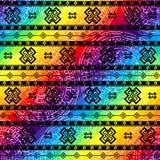 Tribal geometric ornament on raibow colors Stock Images