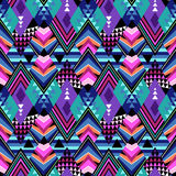 Tribal geometric print with triangles in dark colors Stock Image
