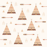 Tribal geometric seamless pattern with arrows and feathers. Wigwam background pattern. Stock Image