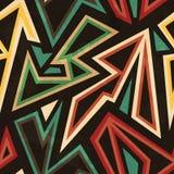 Tribal geometric seamless pattern with grunge effect Stock Photo