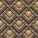 Tribal geometric seamless pattern. Vector greek key meanders bac. Kground. Ornate wallpapers design. Tracery ethnic ornaments. 3d ornamental meander frames Stock Photography