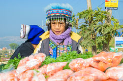 Khao Kho,Thailand:Tribal girl sold carrots Stock Photo