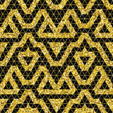 Tribal glitter golden seamless pattern. Stock Images