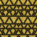 Tribal glitter golden seamless pattern. Royalty Free Stock Images