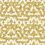 Tribal glitter golden seamless pattern. Royalty Free Stock Photos