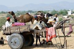 Tribal gypsy people in nomadic camp in Pushkar,India stock photos
