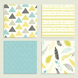Tribal hand drawn background, ethnic pattern set. Royalty Free Stock Images