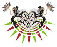 Tribal heart with decorative lions. Two decorative lions hold tribal heart. Ready for stickers, an embroidery, love cards and designs of a T-shirt, other Stock Images