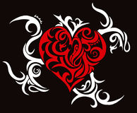 Tribal heart theme. Tribal heart on black backdrop Stock Image
