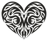 Tribal heart. Vector illustration, silhouette on a white background Stock Photos