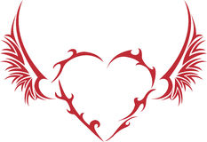 Tribal heart with wings. And thorns vector illustration