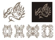 Tribal horned dragon and dragons frames Royalty Free Stock Photography