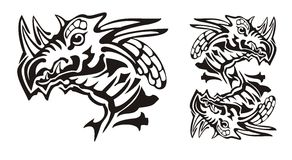 Tribal horned dragon head and dragon symbol in the dollar form Royalty Free Stock Images