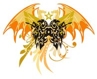 Tribal horse butterfly with dragon wings Stock Photos