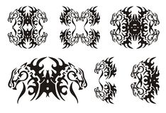 Tribal horse elements. Black on the white Royalty Free Stock Photo