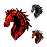 Tribal horse mascot with fire flames ornament. Tribal horse head icon with bright red curling ornaments of fire flames. May be use as race horse symbol, sporting Stock Photography