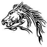 Tribal horse tattoo. Line illustration royalty free stock image
