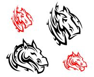 Tribal horses tattoos Stock Images