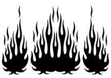 Tribal hotrod muscle car silhouette flame kit. For car hoods and sides. Can be used as decals and tattoos too stock illustration