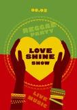 Tribal human hand with bracelets hold yellow heart. Reggae folk music background. Jamaica poster vector illustration Stock Image