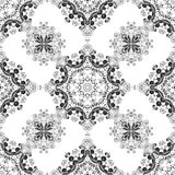 Tribal indian ethnic seamless design. Festive blacj and white mandala pattern. one color print.  Royalty Free Stock Photography