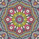 Colorful seamless pattern mandala fabric design. Tribal indian ethnic seamless design. Festive colorful mandala pattern Stock Photography