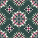 Tribal indian ethnic seamless design. Festive pastel pink blue gray mandala pattern.  Stock Photography