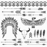 Tribal Indian Ethnicity Collections. A vector illustration of Tribal Indian Ethnicity Collections. with dreamcather, teepee tents, arrow, feathers, antler, aztec royalty free illustration