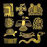 Tribal indian golden symbols. On black background vector illustration Stock Images