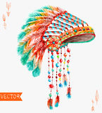 Tribal indian hat, watercolor background Royalty Free Stock Photos