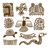 Tribal indian patterns or mexican symbols stock illustration