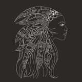 Tribal indian woman tattoo and t-shirt design. Native American woman tattoo art. Ethnic girl warrior. vector illustration