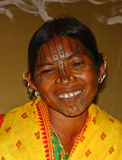 Tribal Lady with Tribal face painting Stock Photography