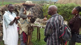 Tribal lesson. Medicine man and Village chief gives visitors lesson on herbs to make medicine  in  Rwanda Village Royalty Free Stock Images