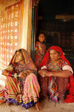 Tribal Life of India. February 19, 2012-Gujarat,Ran of kutch,India,Asia-A Lambada tribal family in a remote village of Gujarat stock image