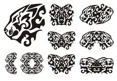 Tribal lion head symbols and lions butterflies Stock Image